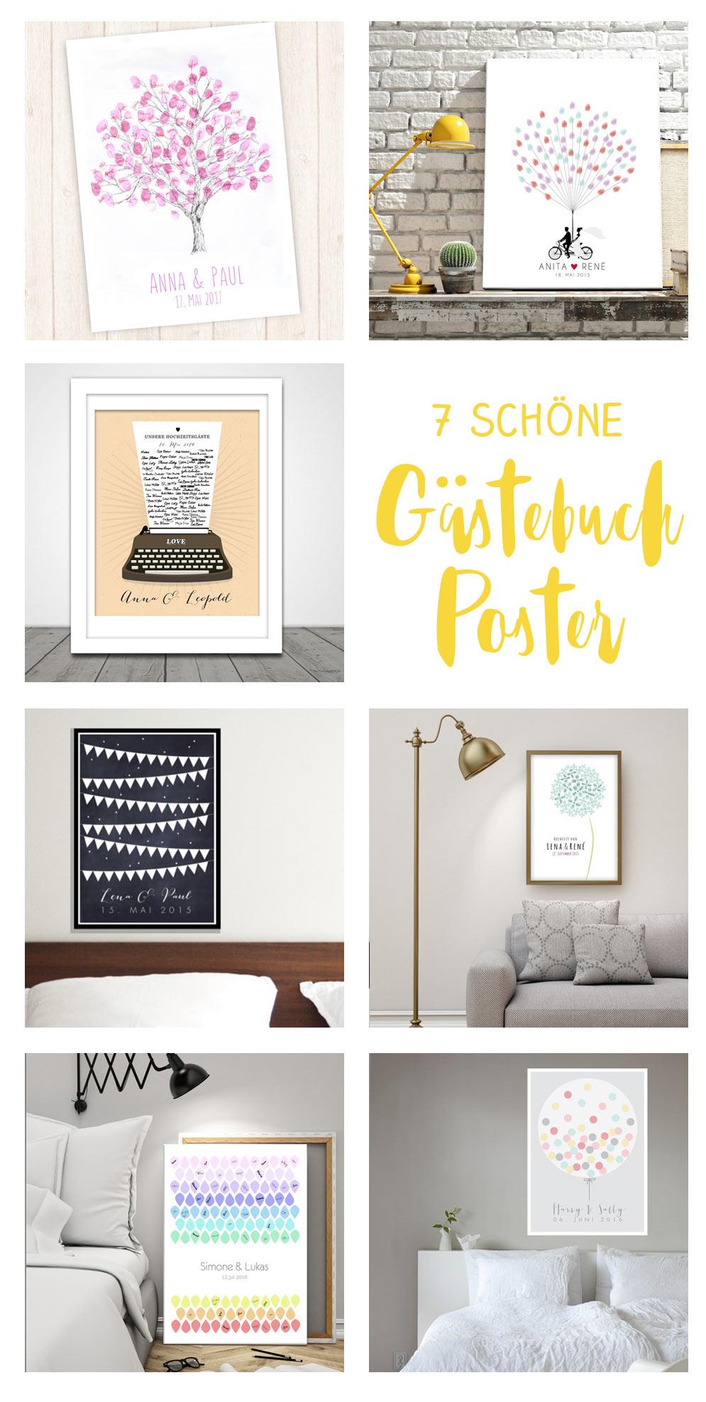 7 schöne Gästebuch Poster für eure Hochzeit - Fingerprint Tree und Co.