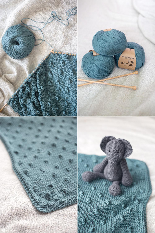 DIY Babydecke mit Knötchen stricken - Wie strickt man ein Knötchen - Anleitung auf Kreativfieber