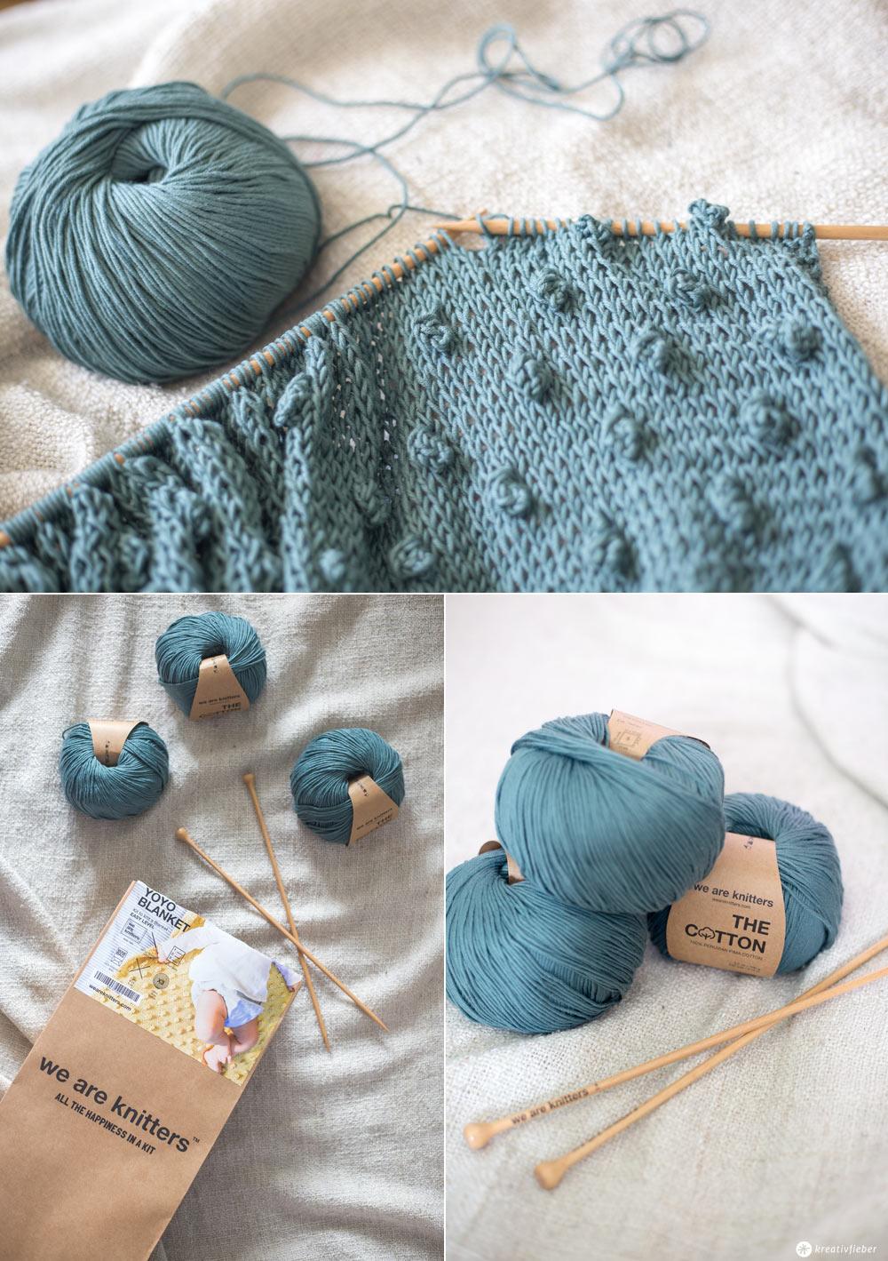 DIY Babydecke mit Knötchen stricken - YoYo Blanket weareknitters - Wie strickt man ein Knötchen - Anleitung auf Kreativfieber