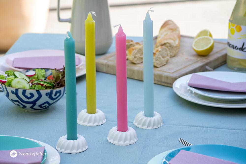 Deko DIY Kerzenständer aus Beton in Gugelhupfform gießen