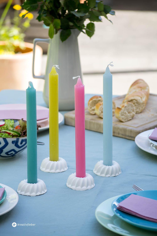 Tischdeko DIY Kerzenständer Gugelhupf aus Beton