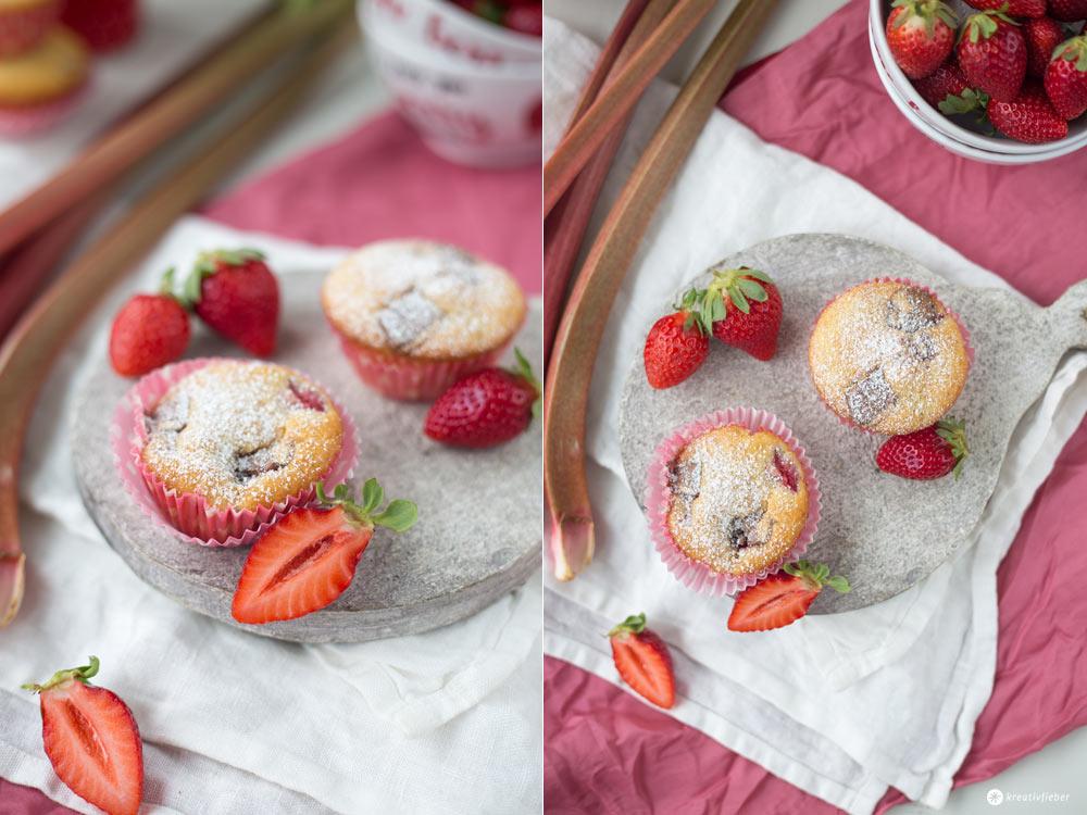 Rhabarber-Erdbeer-Buttermilch-Muffins mit Kinderriegelstücken - sommerliche Muffinrezepte - Rezeptideen mit Kinderriegeln