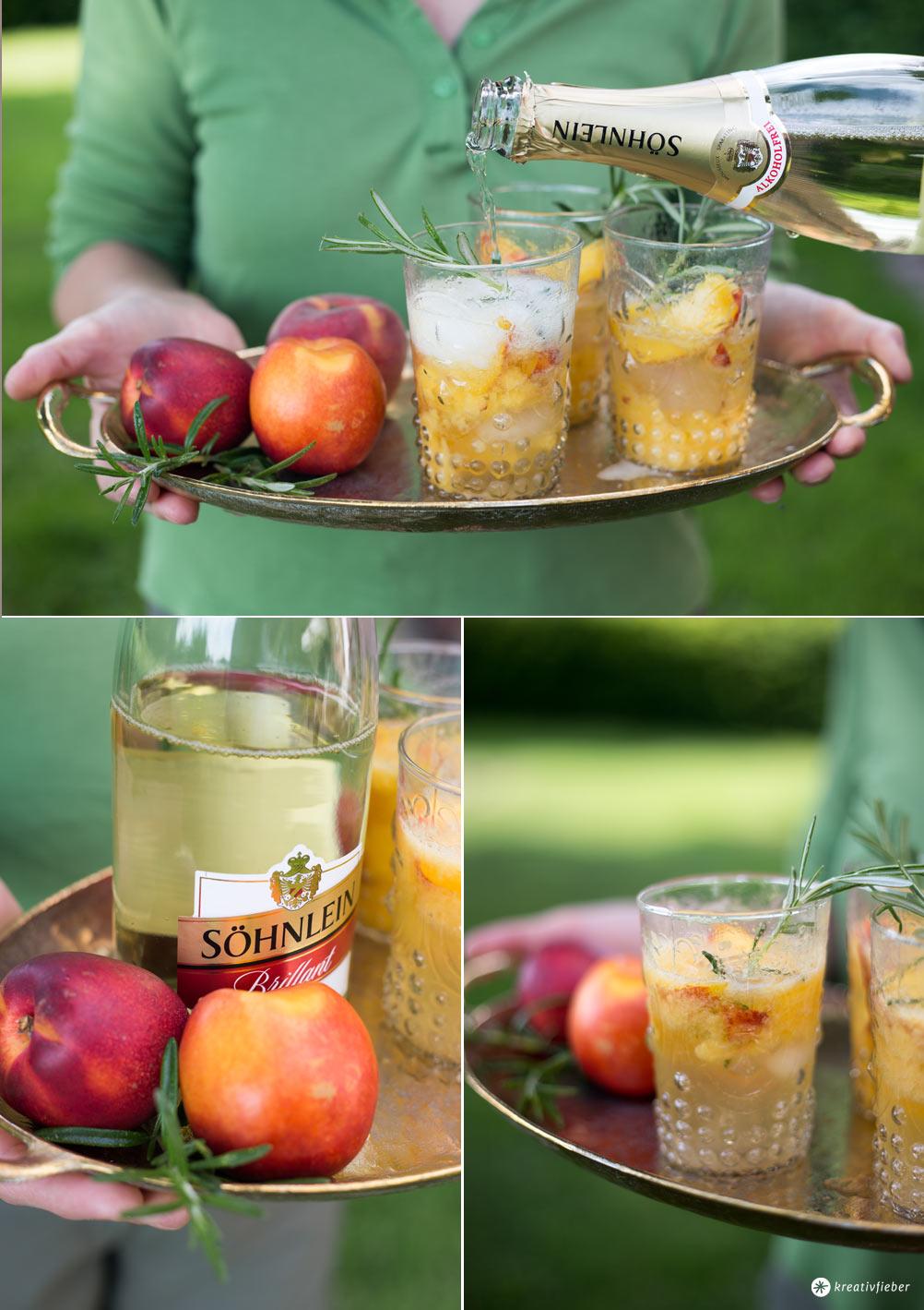 Rezepte mit alkoholfreiem Sekt - alkoholfreie Sommercocktails für Schwangere - Nektarinen-Rosmarin-Sekt Cocktail