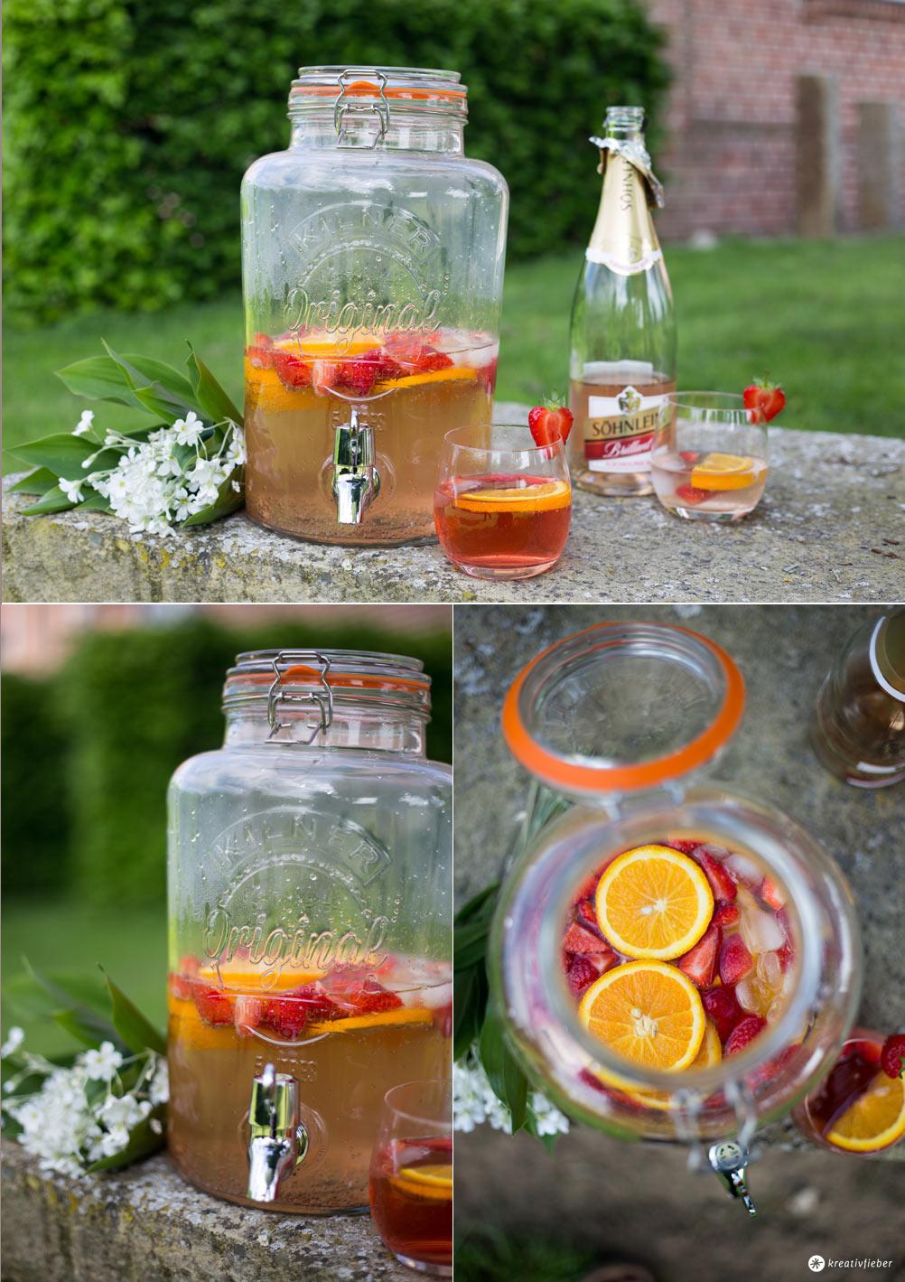 Rose Spritz mit Erdbeeren und Orangen - alkoholfreier Drink für Schwangere - Alkohlfreie Rezepte mit Sekt