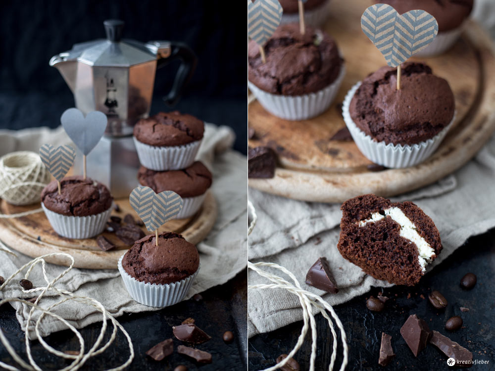 schoko espresso muffins mit cheesecakekern einfaches muffinrezept. Black Bedroom Furniture Sets. Home Design Ideas