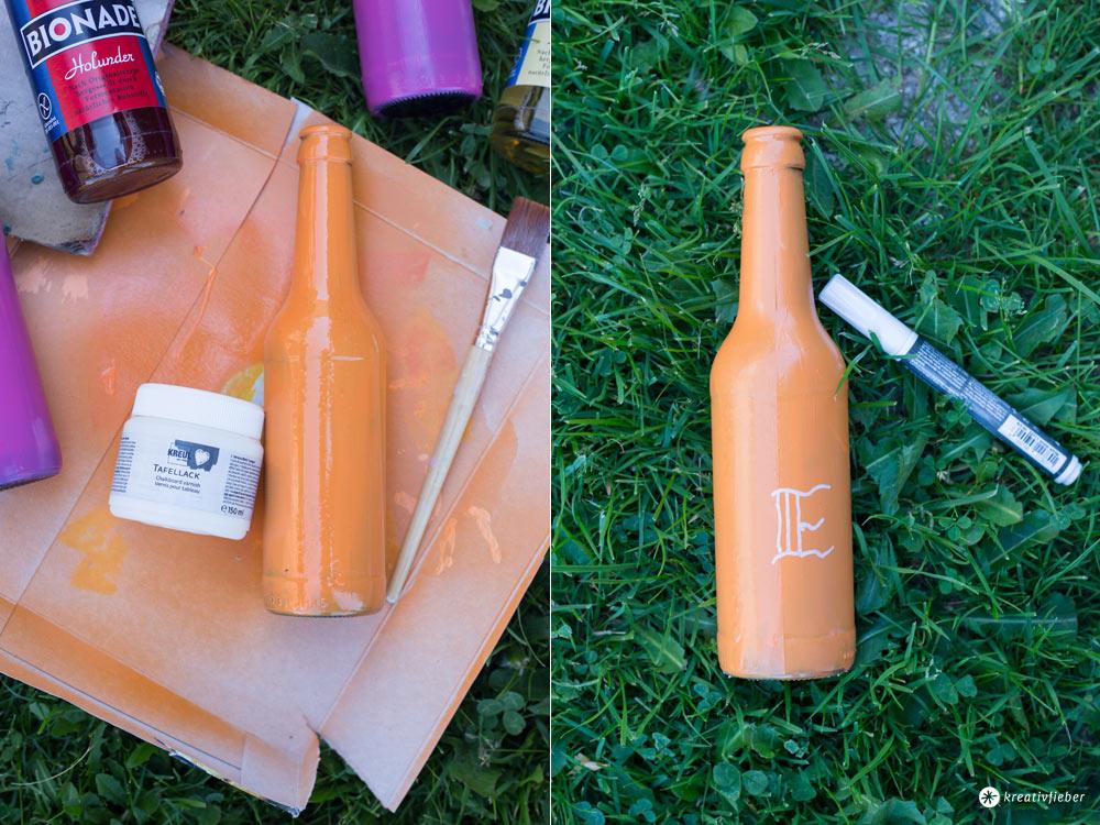 DIY Flaschen Upcycling mit Tafellack - buntstattgrau -lackieren und beschriften