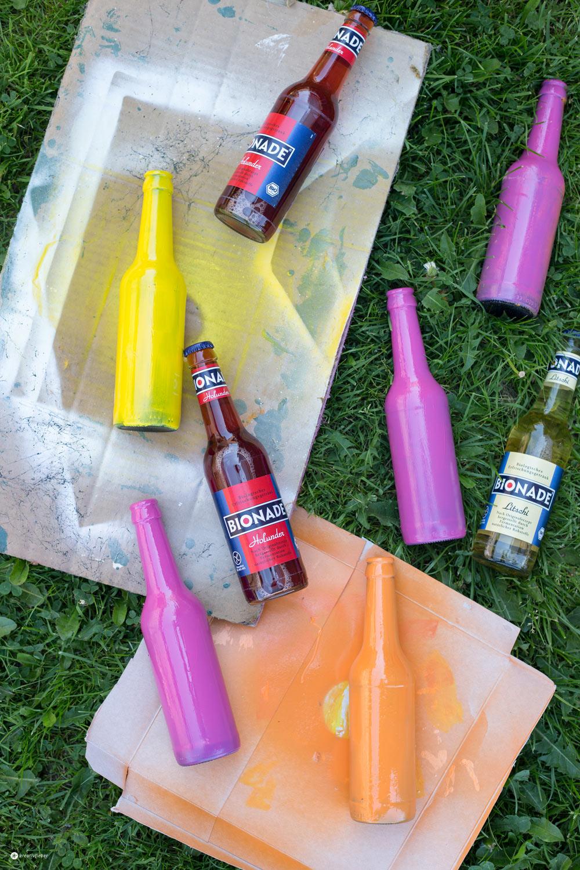 DIY Flaschen Upcycling mit Tafellack - buntstattgrau