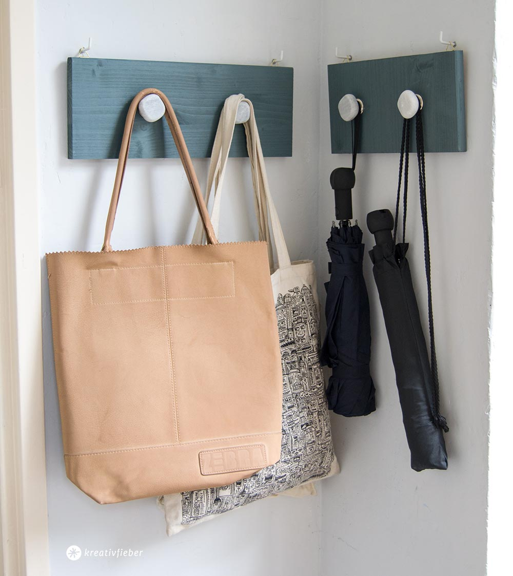 DIY Garderobenkaken mit Stein-Wandhaken Selbermachen