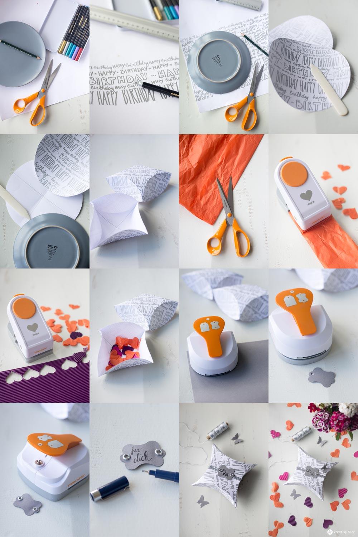 DIY Geschenkschachtel mit Handlettering - Fiskars DIY Challenge - Schachtel falten Schritt für Schritt Anleitung