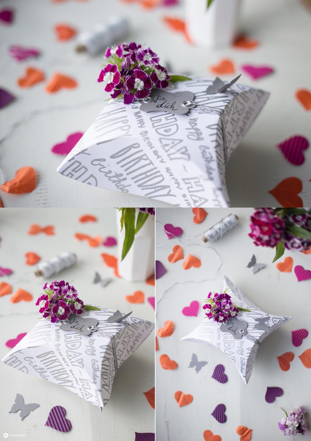 DIY Geschenkschachtel mit Handlettering - Schachtel falten für Gastgeschenke, kleine Mitbringel oder Adventskalender - mit Etikett und Konfetti