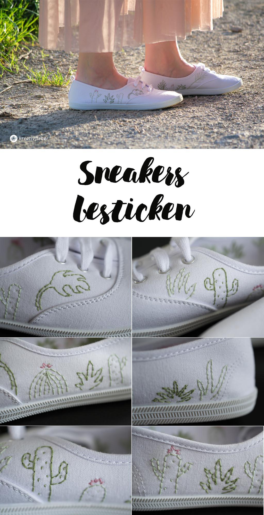 DIY Schuhe Sneakers besticken - einfache Anleitung - Sukkulenten Style