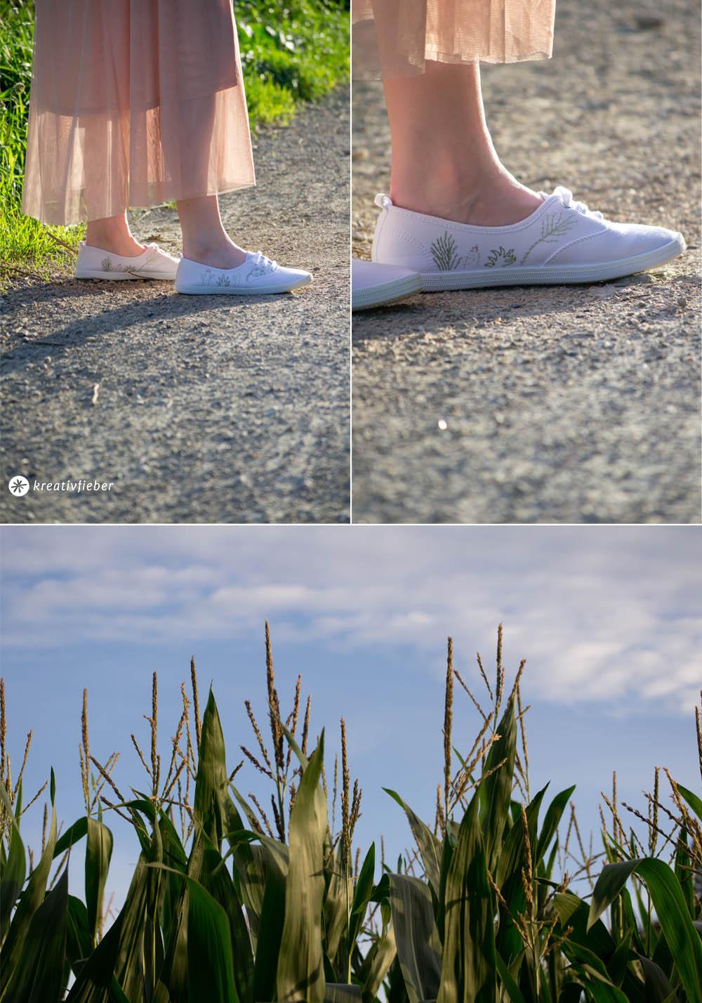 DIY Schuhe sticken mit Pflanzen, Sukkulenten