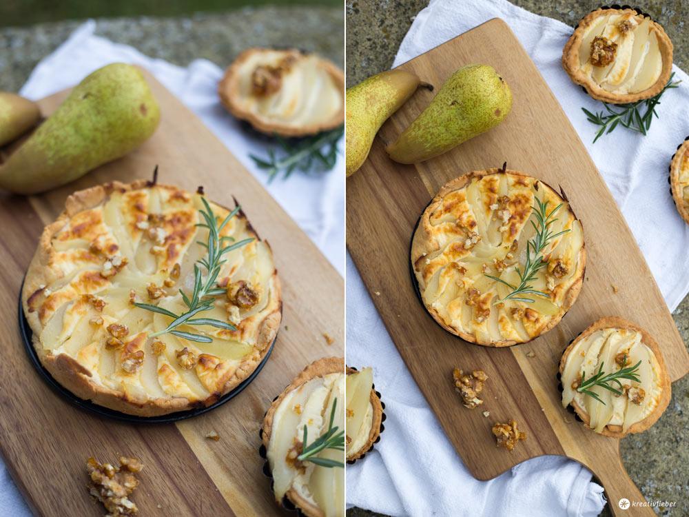 Herzhafte Birnentartelettes mit Ziegenkäse - Rezeptideen fürs Spätsommerpicknick - Picknick und Proviant mini Quiche