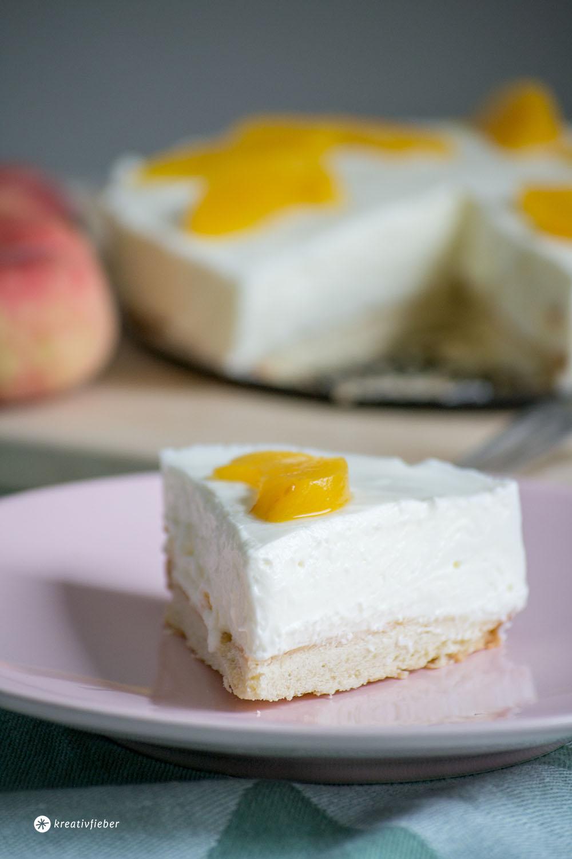 Sommerliche Pfirsich Quarktorte
