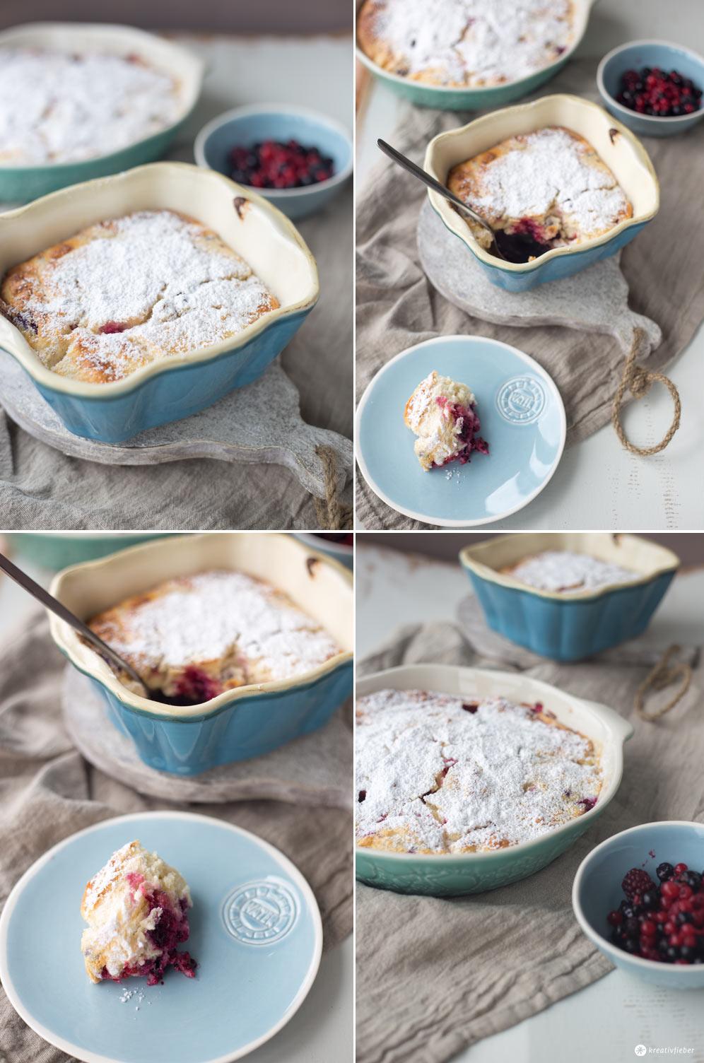 Quarkauflauf mit Waldbeeren - leckerer Nachtisch oder Sonntagskuchen - Dessertrezeptidee