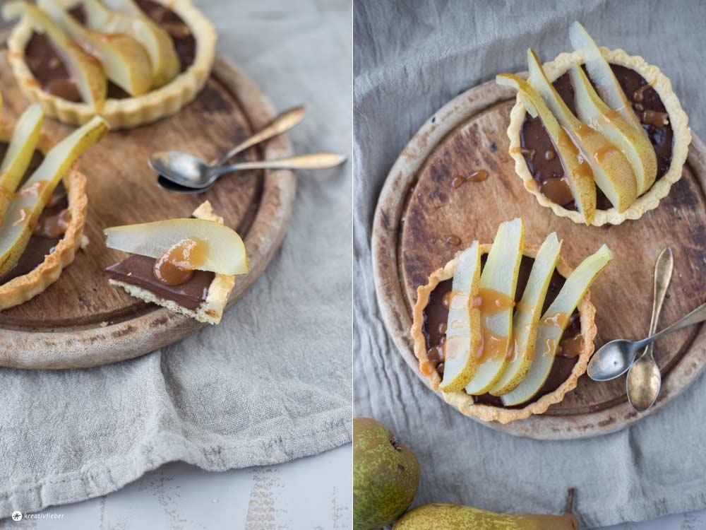 Birnentartelettes mit Schokoladencreme und Karamellsoße - Herbstrezept auf Kreativfieber - Backen Ideen