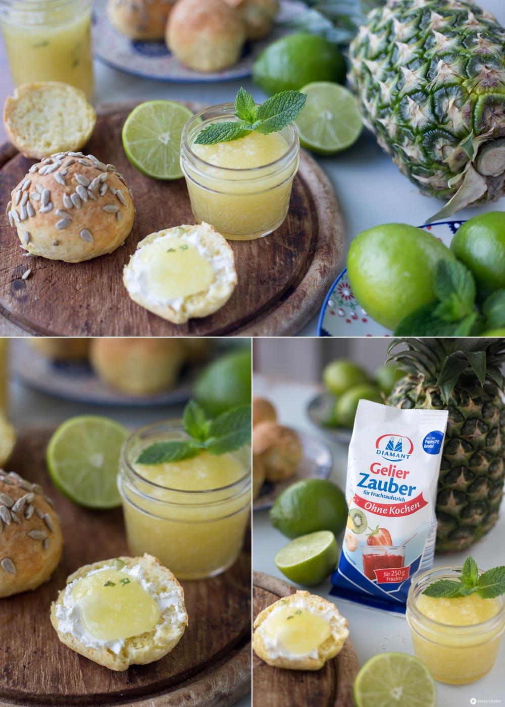 Limetten-Ananas-Konfitüre mit Kokos, Ingwer und Minze - leckeres Marmeladenrezept mit Zitrusfrüchten - Marmelade ohne Kochen