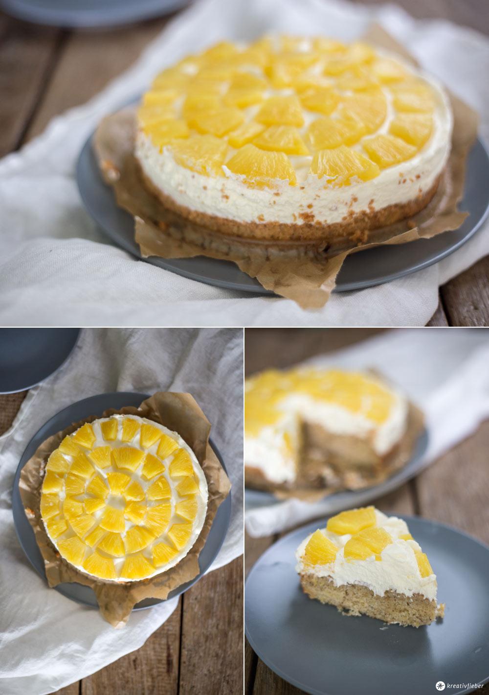 Ananaskuchen mit Nussboden - klassischen Obstboden backen - Rezeptidee von Kreativfieber - Rezepte mit Ananas