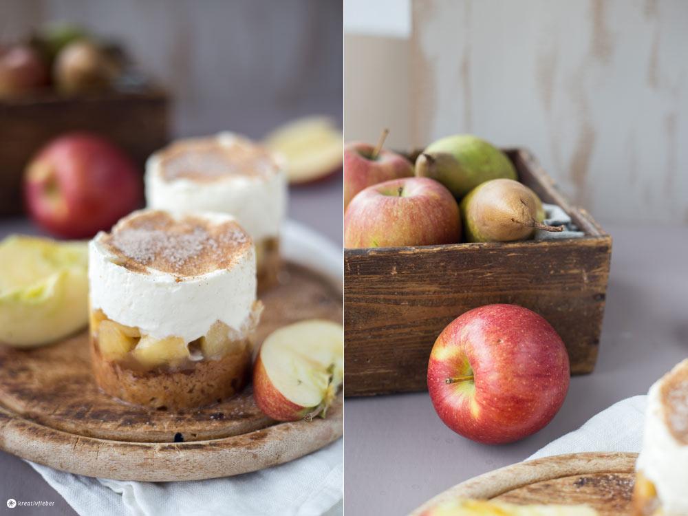 Apfel-Schmand-Törtchen mit Haselnussboden - einfaches Herbstrezept - Backideen auf Kreativfieber