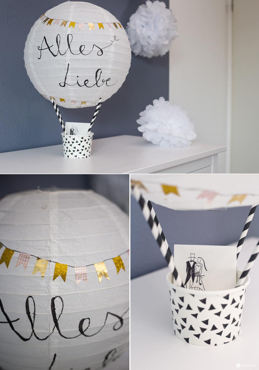DIY Geschenkidee zur Hochzeit - Heißluftballon Geldgeschenk basteln - Geldgeschenk schön verpacken Anleitung