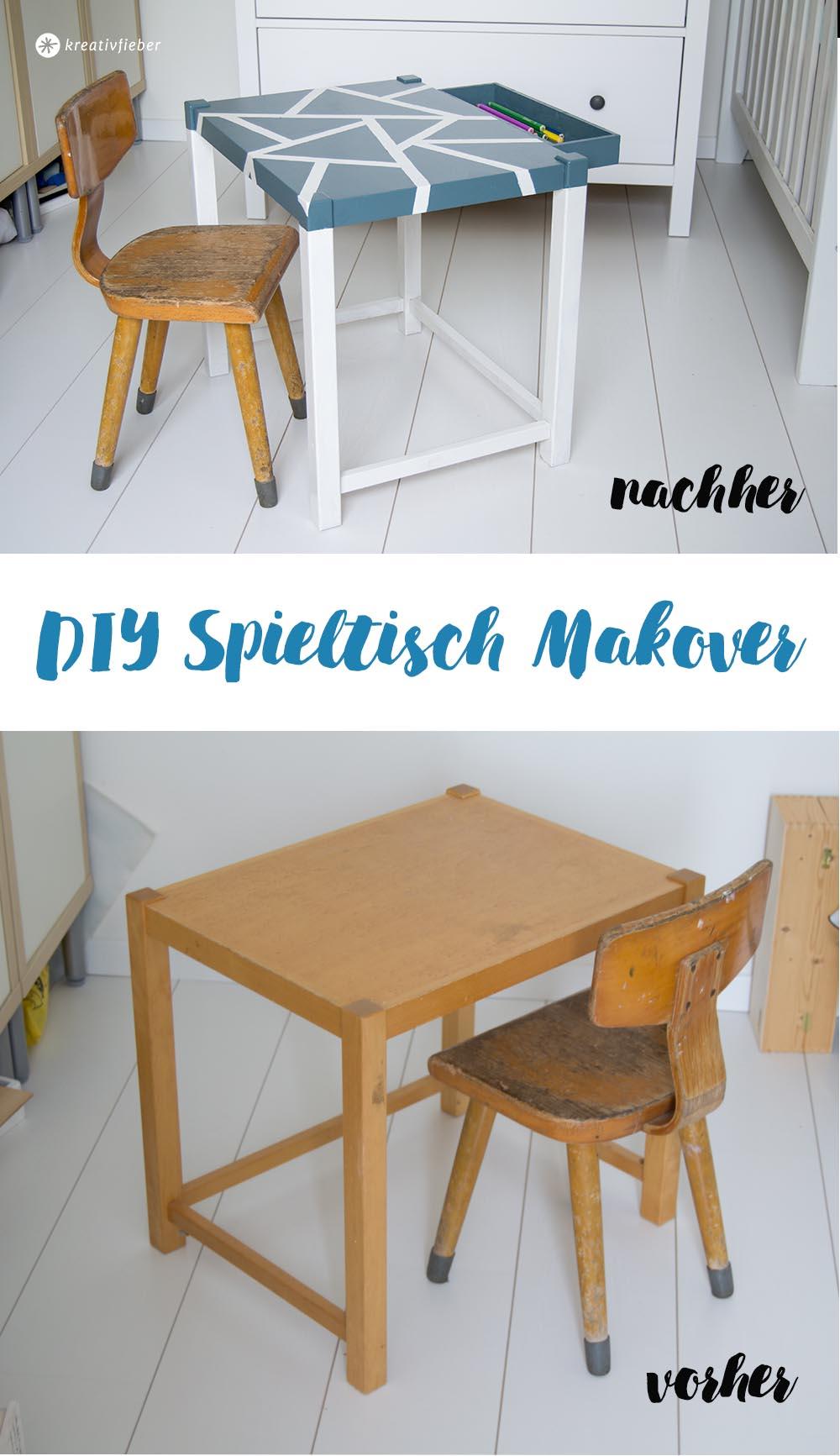 DIY Makeover Spieltisch lackieren mit geometrischen Mustern