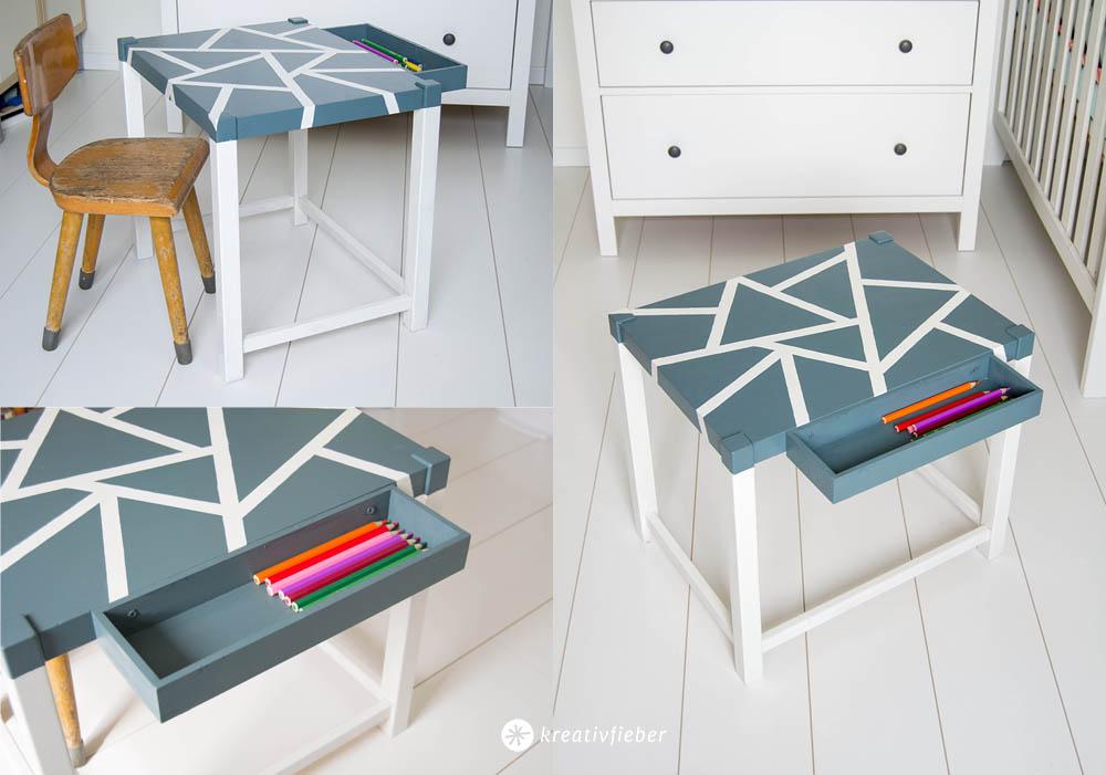 Makeover DIY Spieltisch lackieren mit geometrischen Mustern