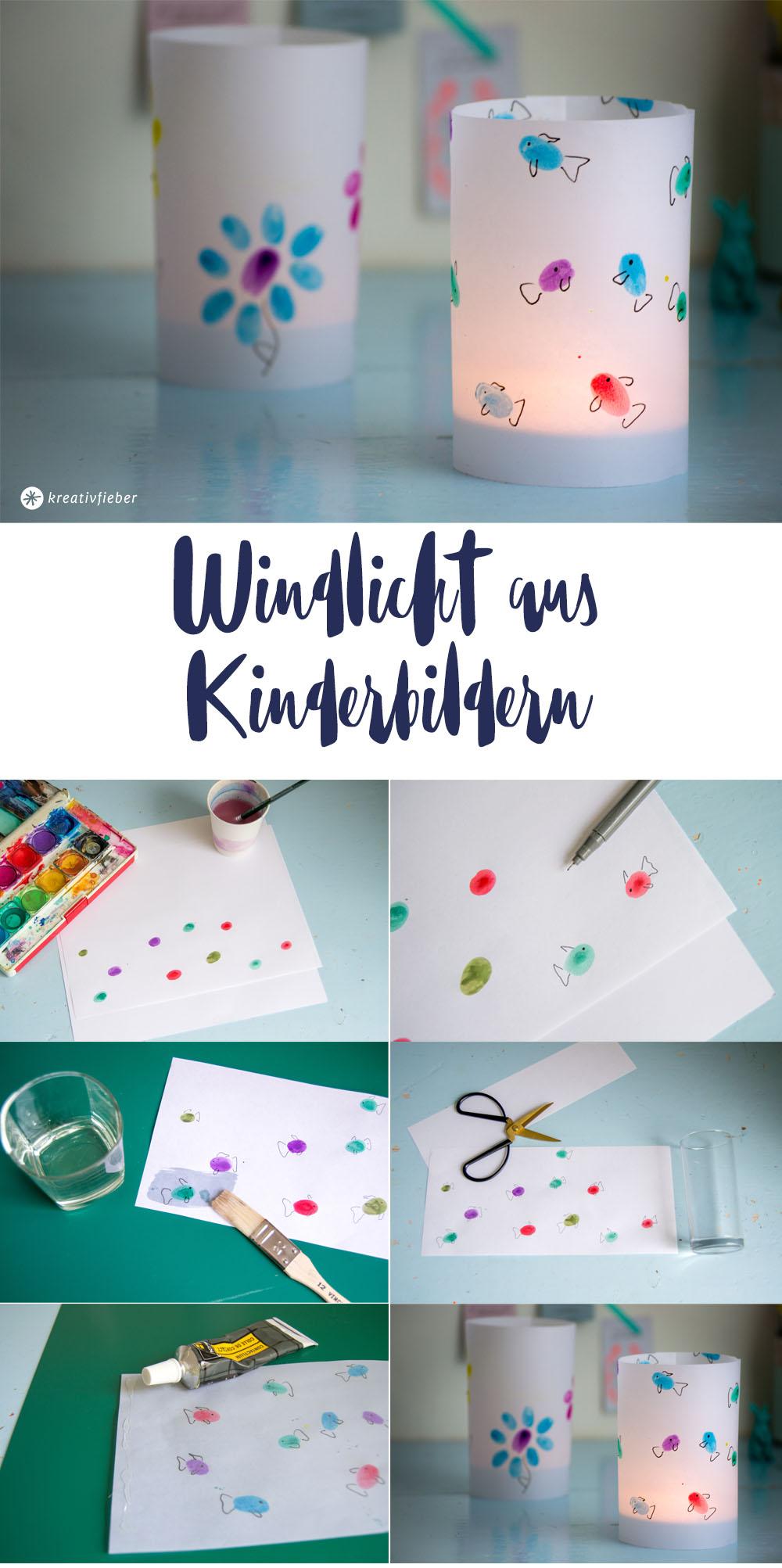 Anleitung DIY Windlicht aus Kinderbilder basteln St.Martin