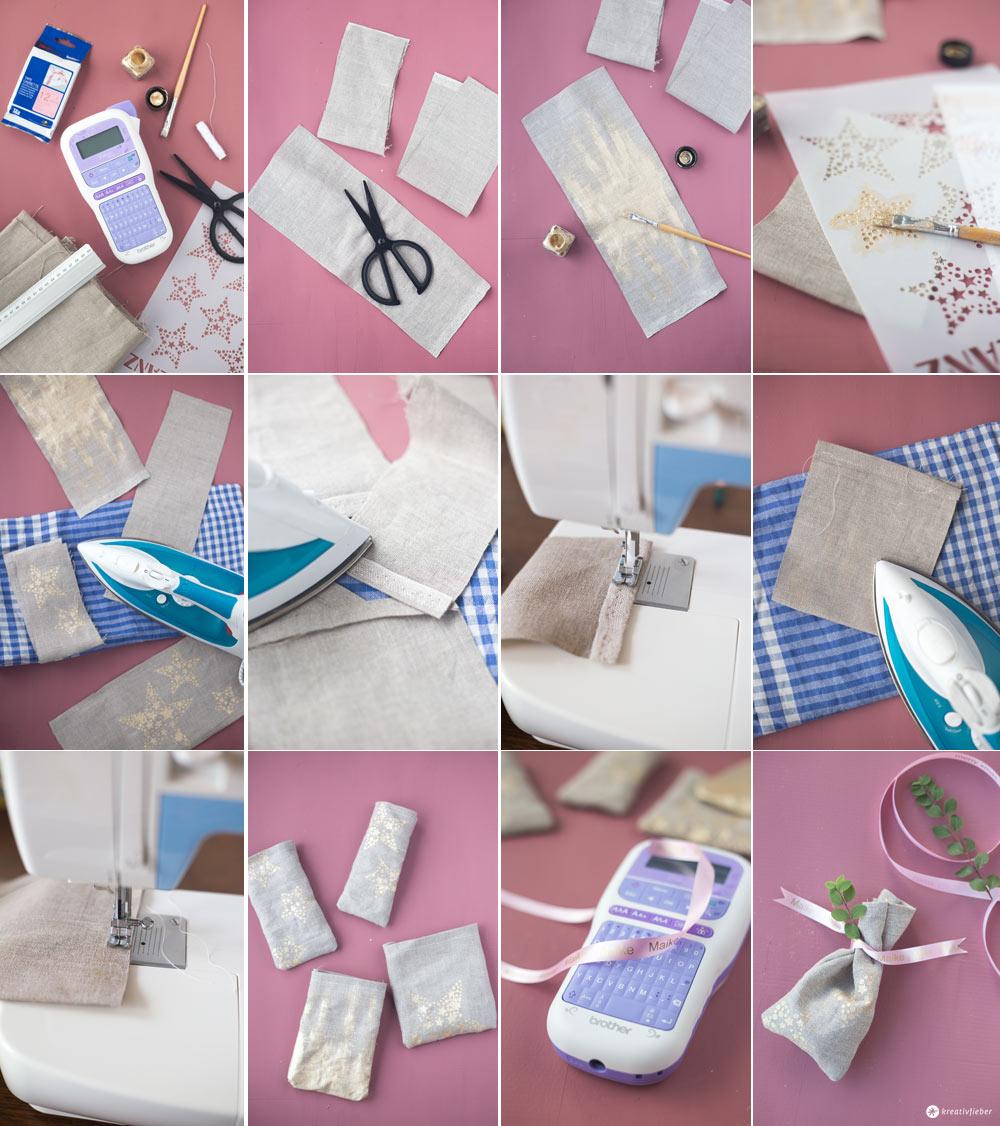 DIY Geschenksäckchen mit Textilband mit Namen selbermachen Schritt für Schritt