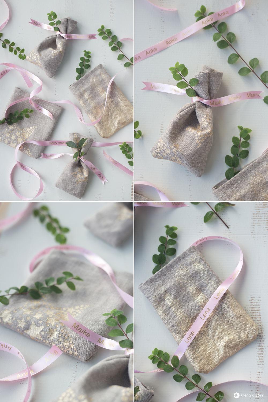 DIY Geschenksäckchen mit Textilband mit Namen selbermachen - Verpackungsidee für schöne Geschenke -Weihnachten