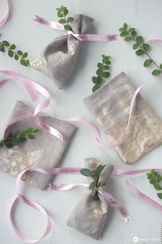 DIY Geschenksäckchen mit Textilband mit Namen selbermachen - Verpackungsidee für schöne Geschenke