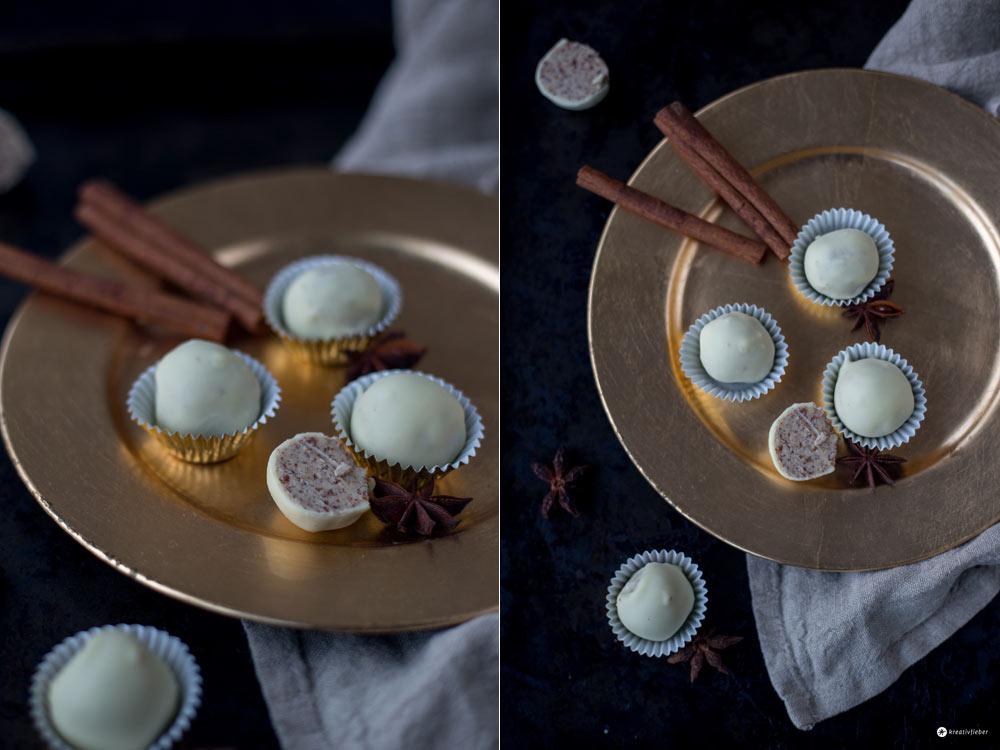 Helle Chai Trüffel - DIY Last Minute Geschenke aus der Küche - einfache Pralinen selbermachen - Rezept von Kreativfieber