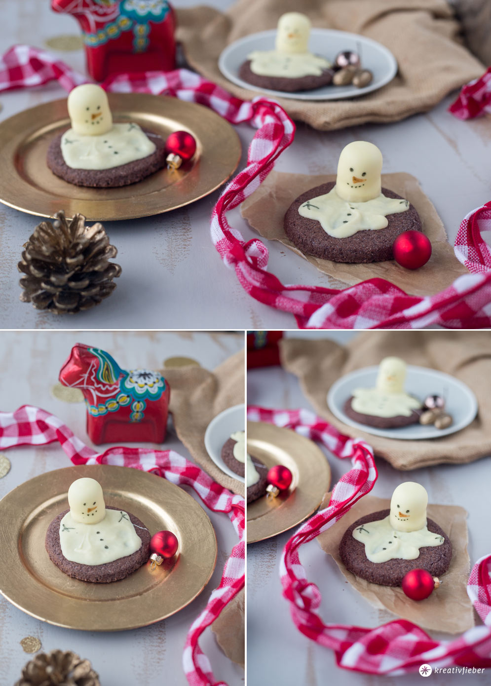 Schneemannkekse mit Schokoküssen backen - melting snowman cookies selbermachen - Weihnachtsbäckerei Rezept