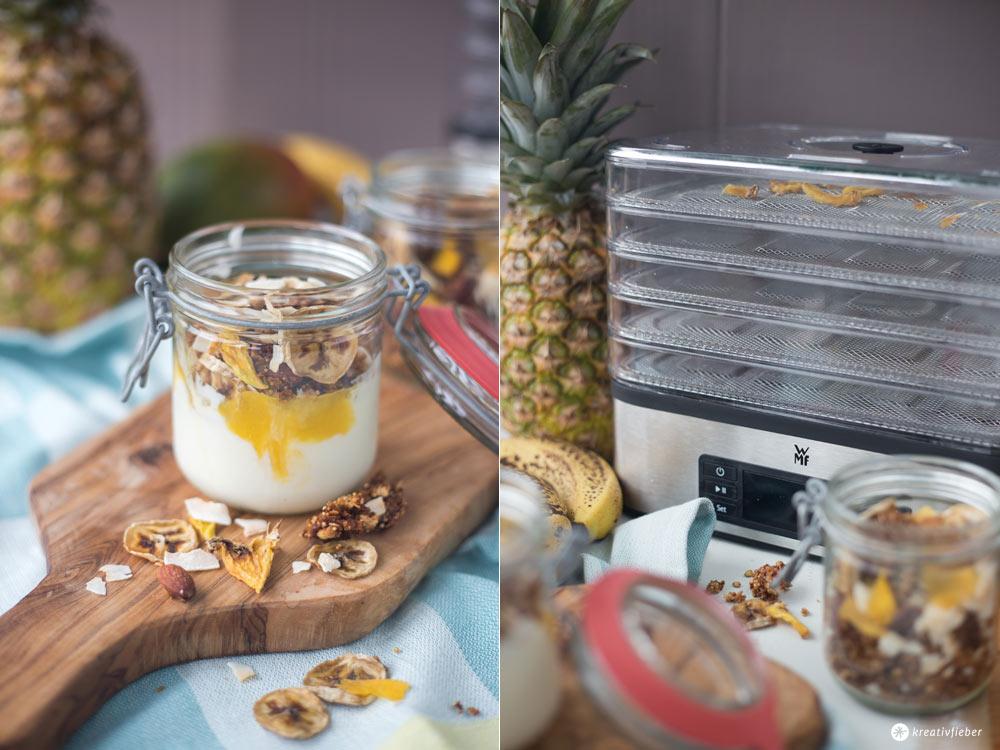 Tropical Granola mit Dörrobst - leckeres Frühstücksrezept - Granola selbermachen mit Kokos, Mango und Ananas