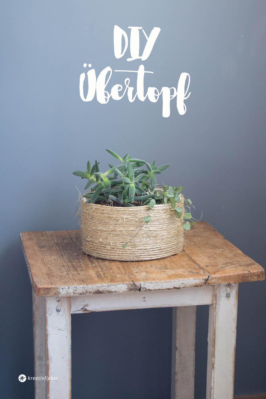 DIY Übertopf aus Naturseil Korblook
