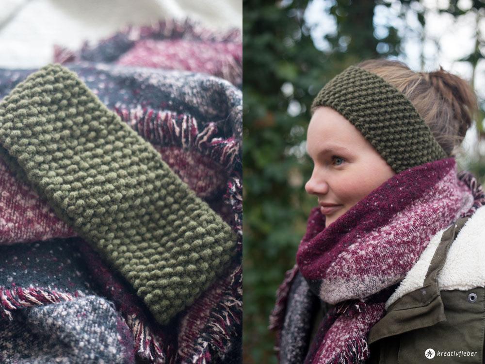DIY Stirnband mit Perlmuster stricken - DIY Geschenkidee für die beste Freundin - einfache Anleitung für Anfänger Kreativfieber