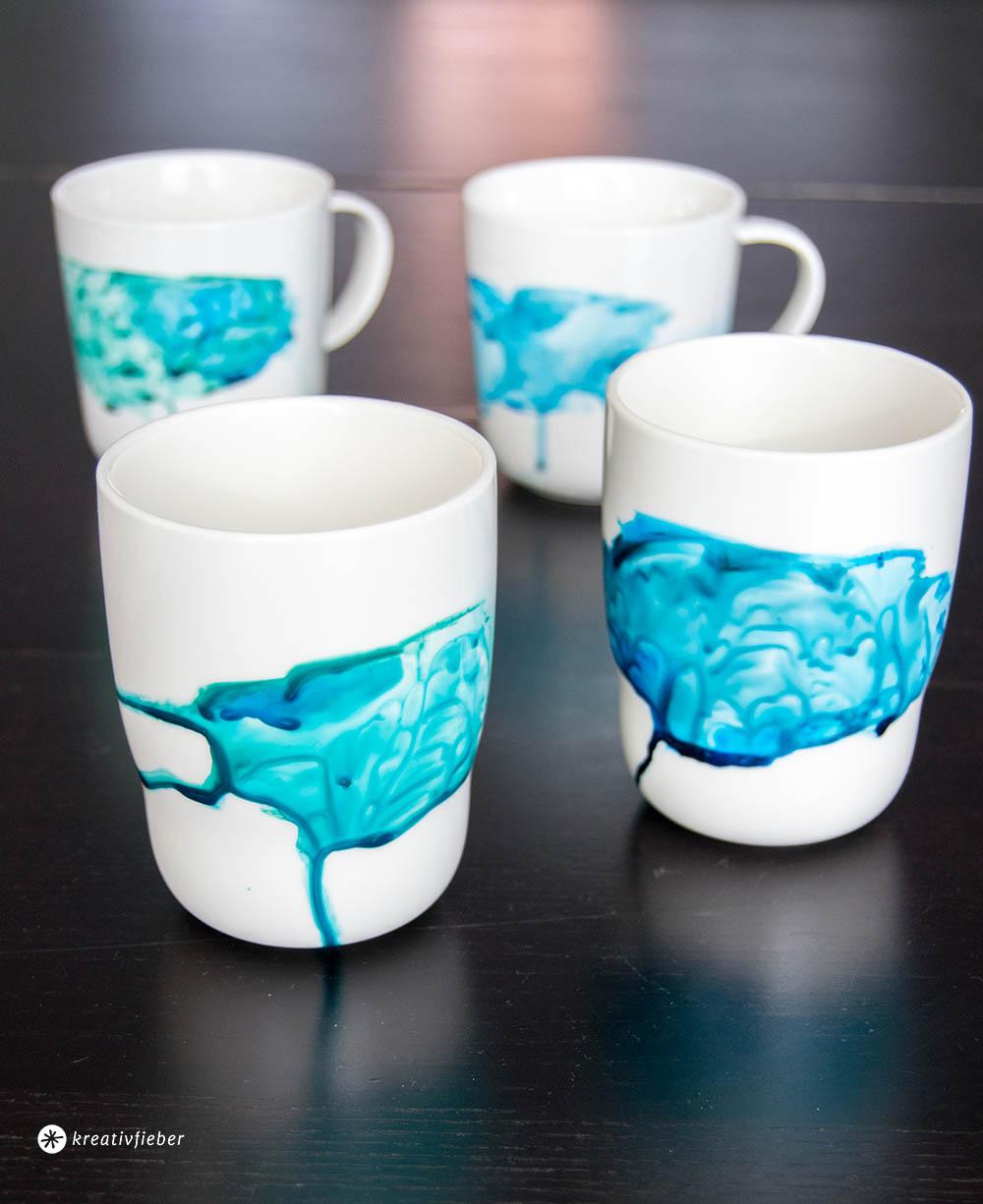 DIY Tassen mit Aquarelleffekt verzieren