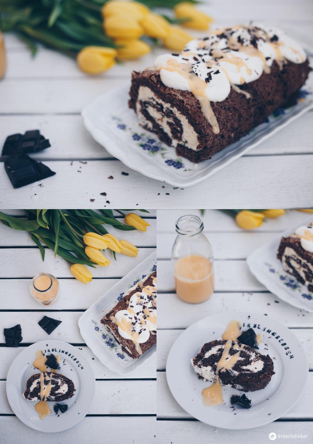 Schokoladige Biskuitrolle mit Eierlikör backen - Rezept zu Ostern