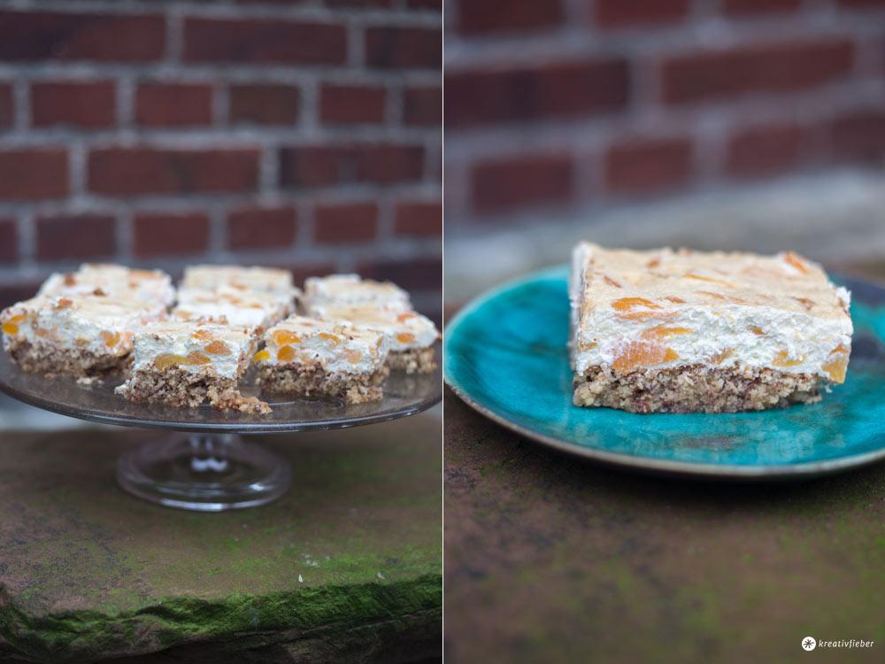 Aprikosennussschnitten mit Schmand - leckeres Rezept für einfachen Blechkuchen - schnell backen