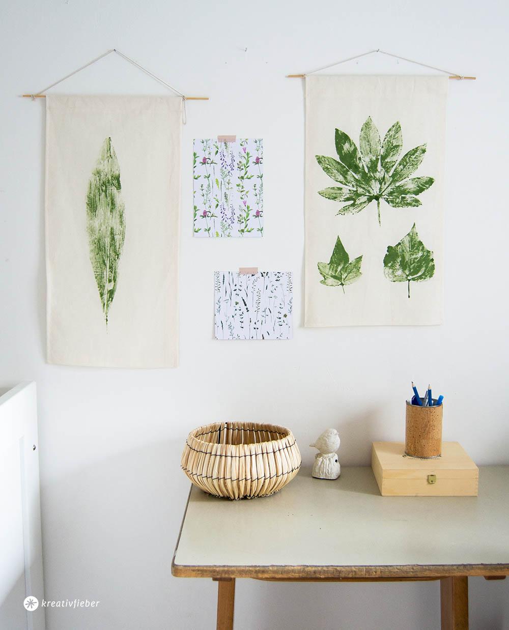 diy bl tter auf stoff drucken tutorial. Black Bedroom Furniture Sets. Home Design Ideas