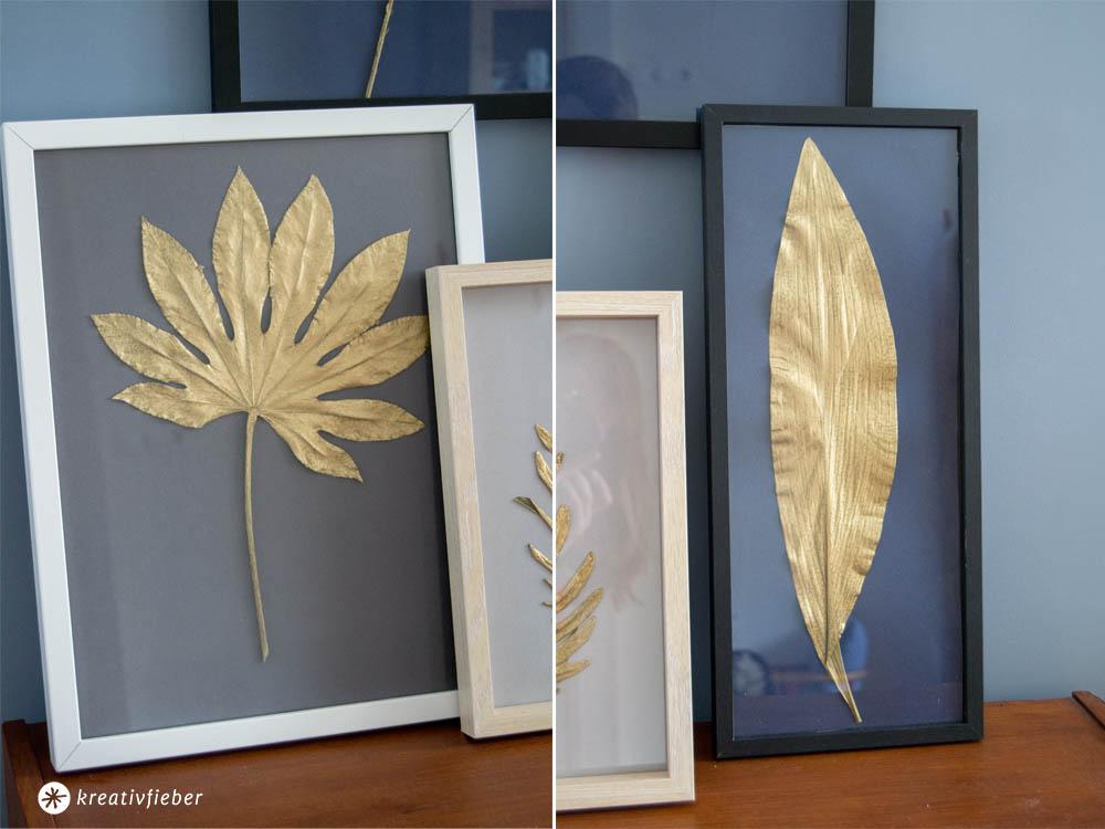 goldene Blätter Aufhängen
