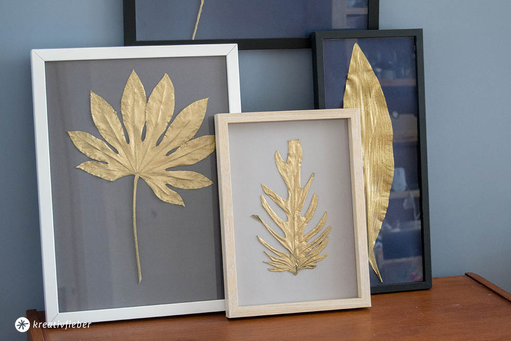 Blätter Pressen goldene blätter einrahmen