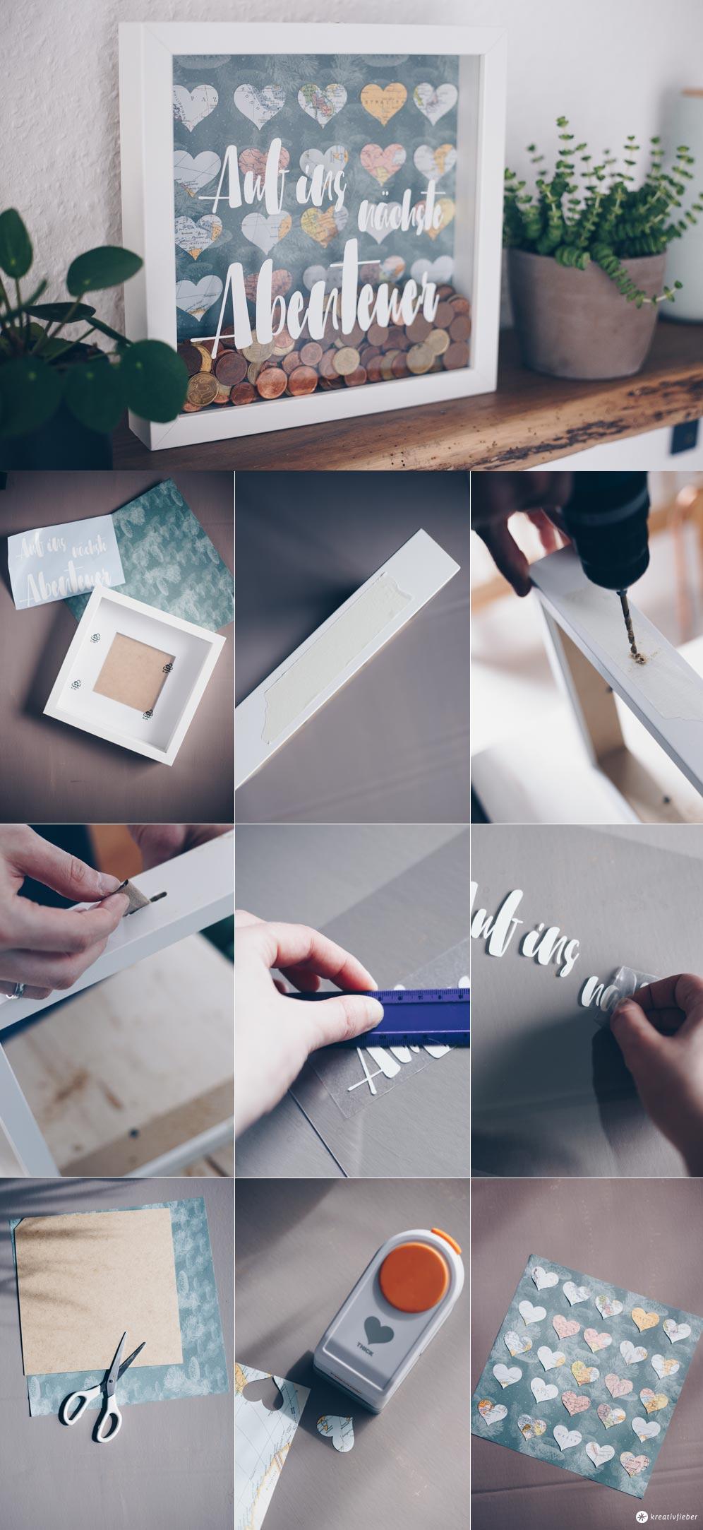 DIY Hochzeitsgeldgeschenk im Ribba Rahmen von Ikea selbermachen - so bohrt ihr ein Loch in den Rahmen