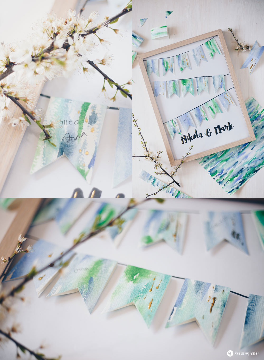 DIY Gästebuchposter zur Hochzeit selbermachen - Wimpelkette mit Wasserfarben Look - DIY Hochzeitsgeschenk Idee