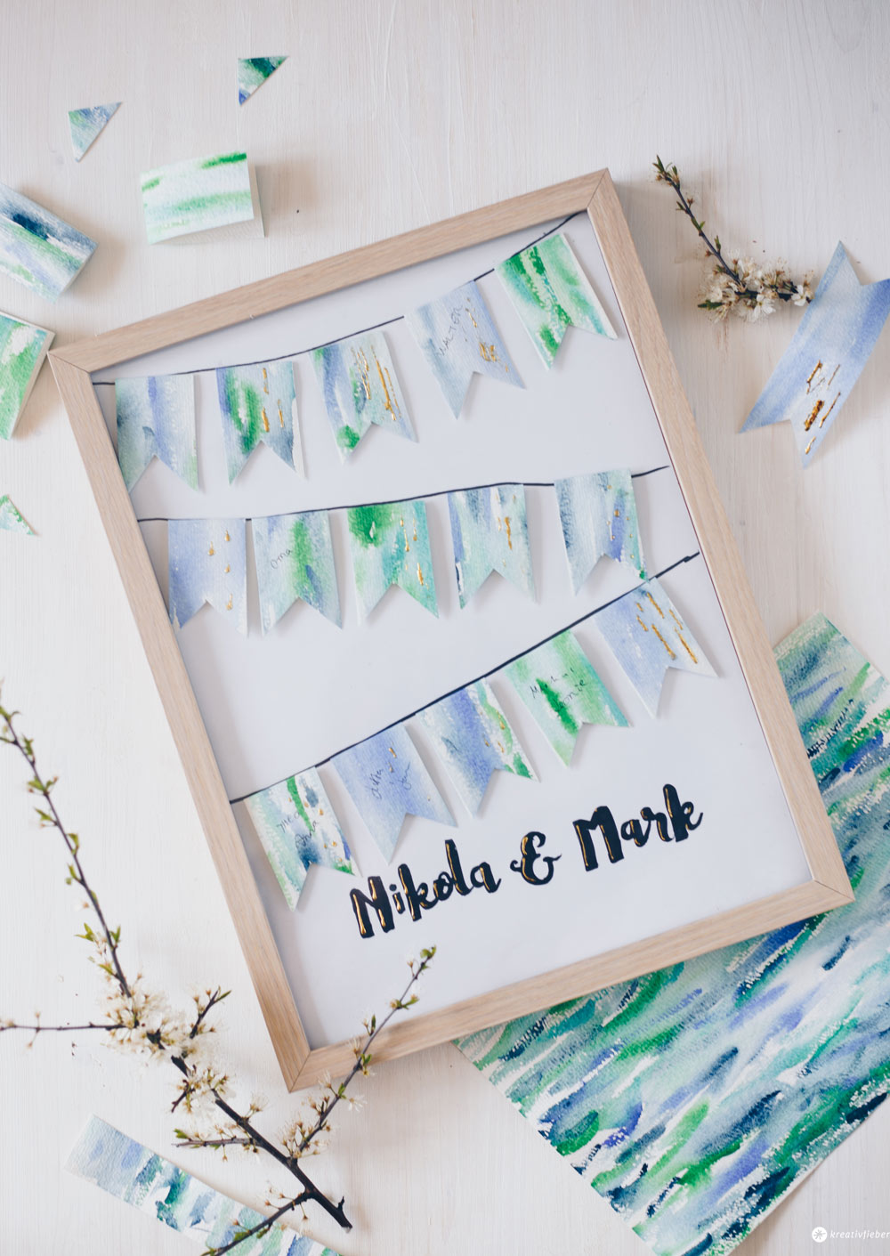 DIY Gästebuchposter zur Hochzeit selbermachen - Wimpelkette mit geheimen Botschaften und Aquarell Wasserfarben Look - DIY Hochzeitsgeschenk