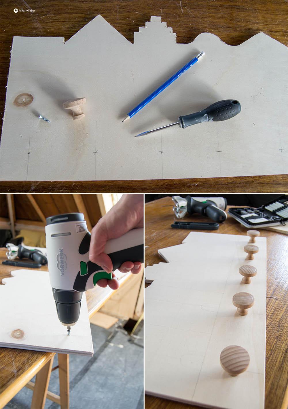 Aufhängehaken montieren Kindergarderobe DIY