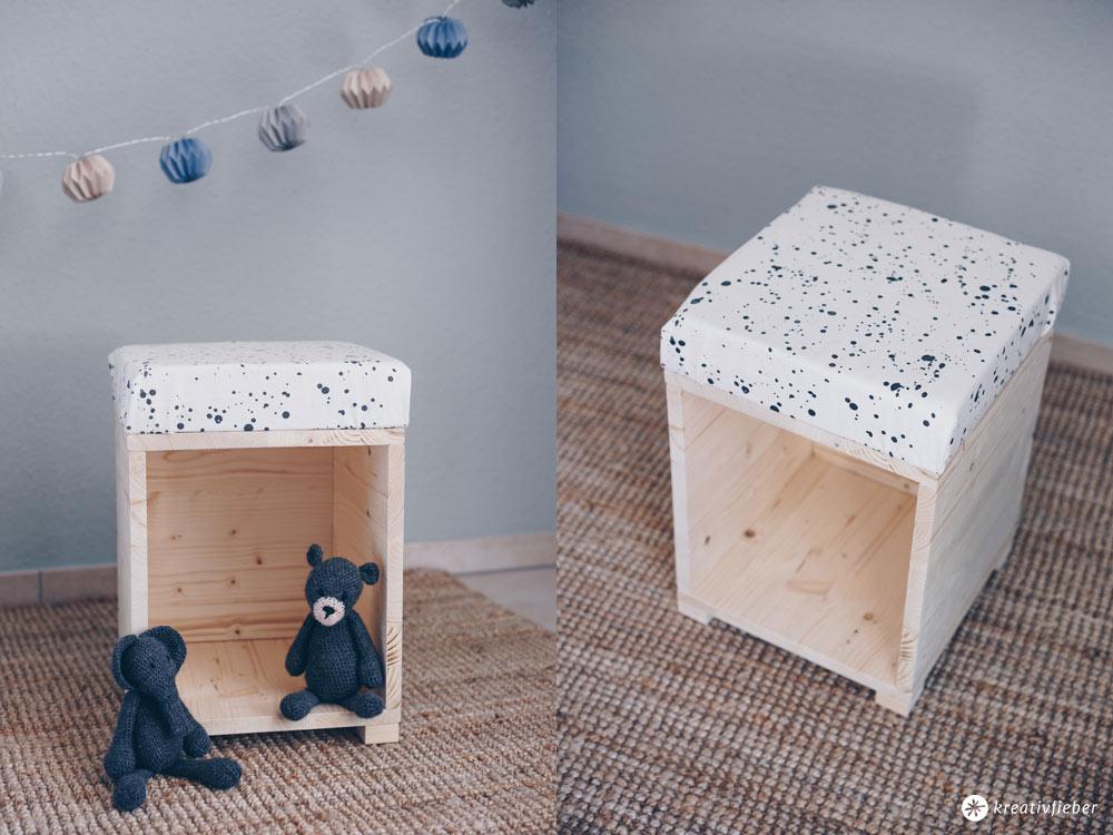 DIY Hocker fürs Kinderzimmer zum Spielen selberbauen - DIY Möbel selbermachen - Lesehocker und Puppenhaus für das Kinderzimmer