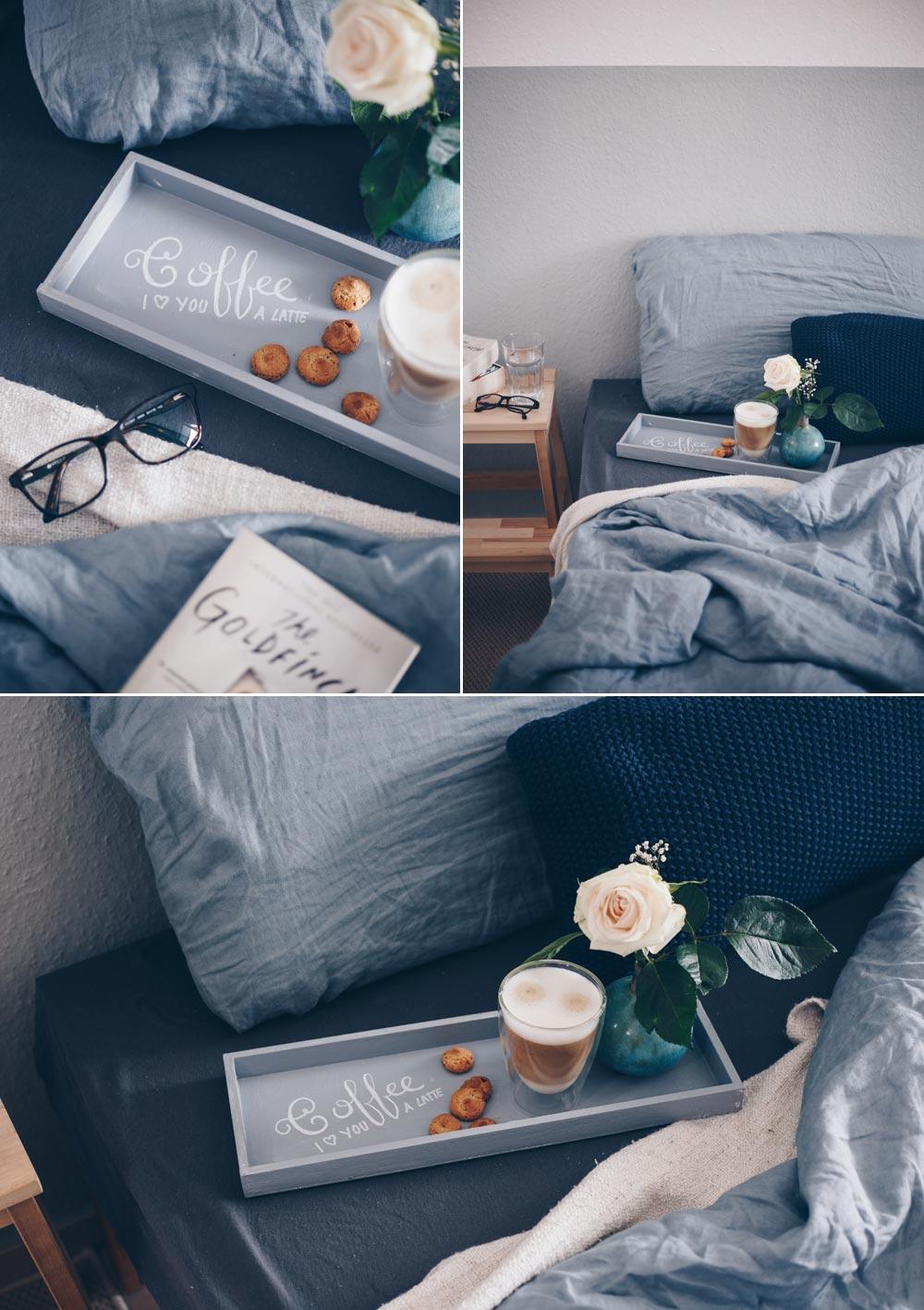 DIY Wiederbeschriftbares Tablett mit Tafellack - Kaffee Handletting DIY - Tablett mit Botschaft - DIY Geschenkidee - Frühstück im Bett