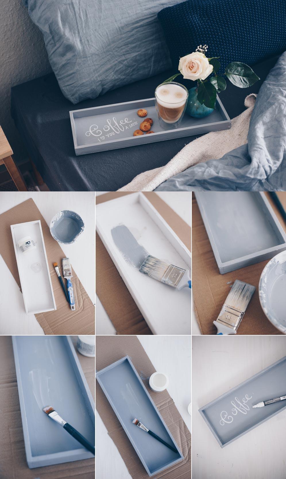 DIY beschreibbares Tablett selbermachen - Deko DIY - Wiederbeschriftbares Tablett mit Tafellack - Handletting DIY Schritt-für-Schritt