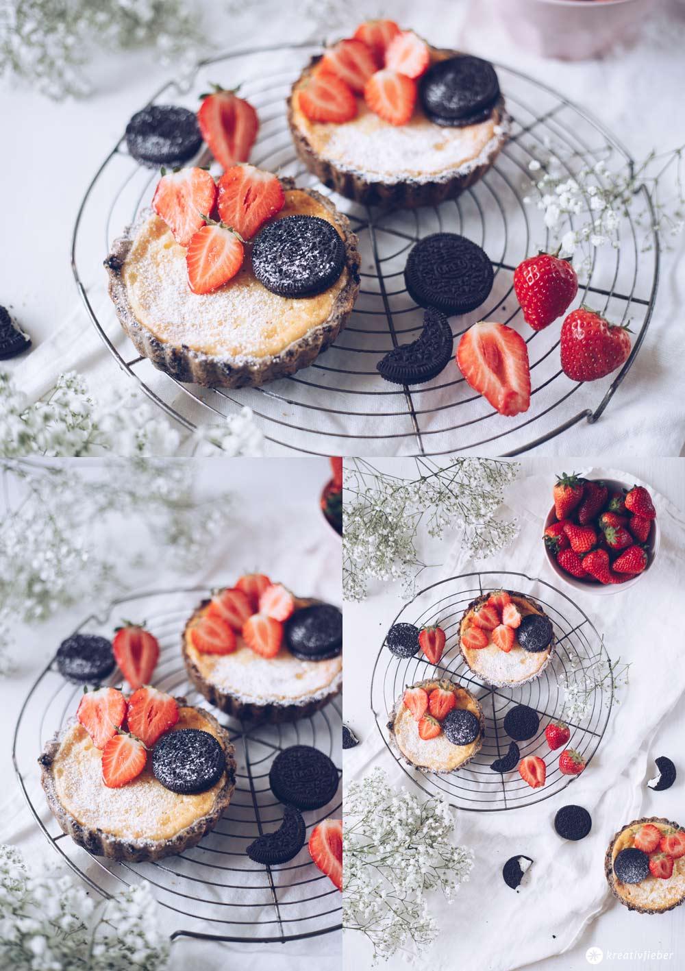Erdbeer-Cheesecake-Törtchen mit Oreo-Knusperboden - Rezepidee mit Erdbeeren - Beerensaison Rezepte