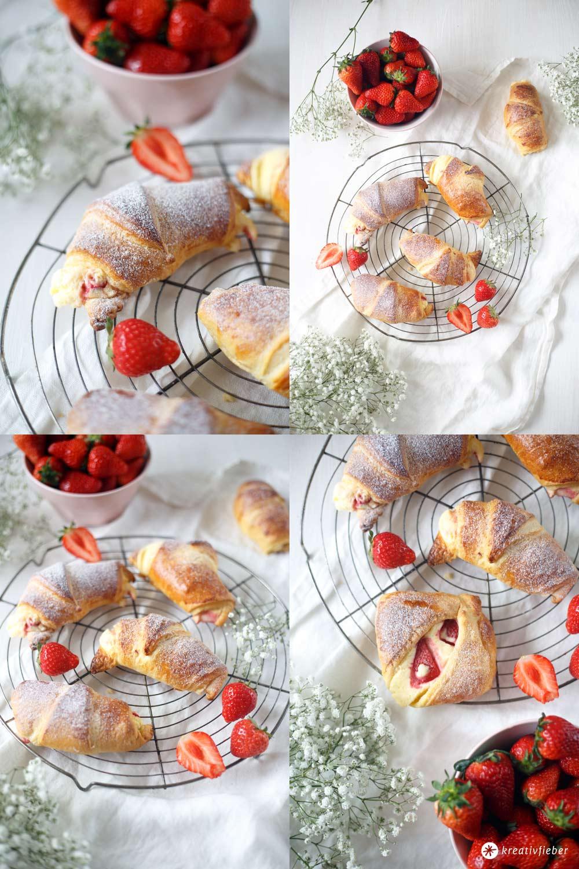 Erdbeer-Vanillequark-Hörnchen - fünf Minuten Rezept fürs Frühstück - Erdbeerrezepte